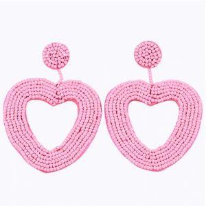 Large Pink Beaded Heart Drop Statement Earrings